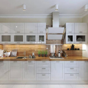 Shaker style kitchen with wooden worktops
