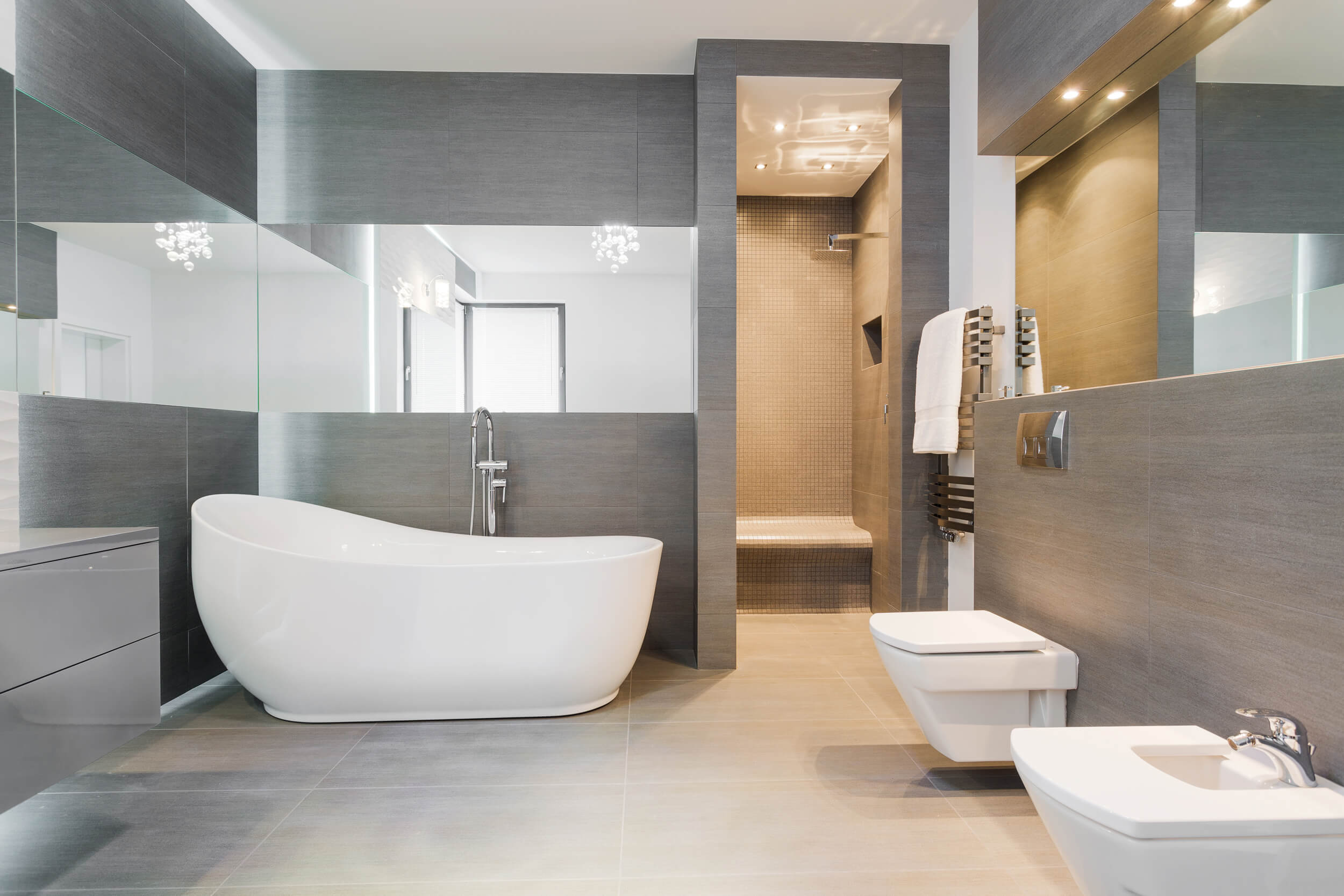 Modern grey Fitted bathroom Glasgow