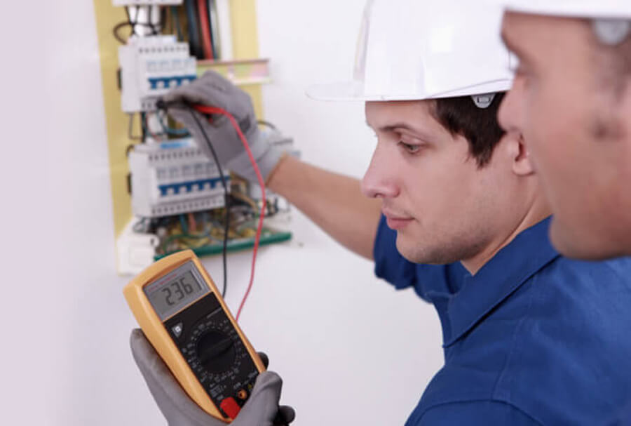 Maintenance of electrics being tested by electricians Glasgow