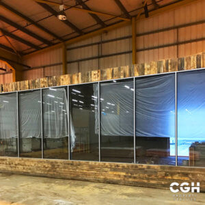 Inflata Word East Kilbride new glass wall constructed