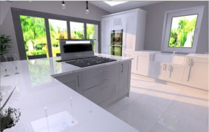 Glossy kitchen cabinets in a 3D render of a modern kitchen