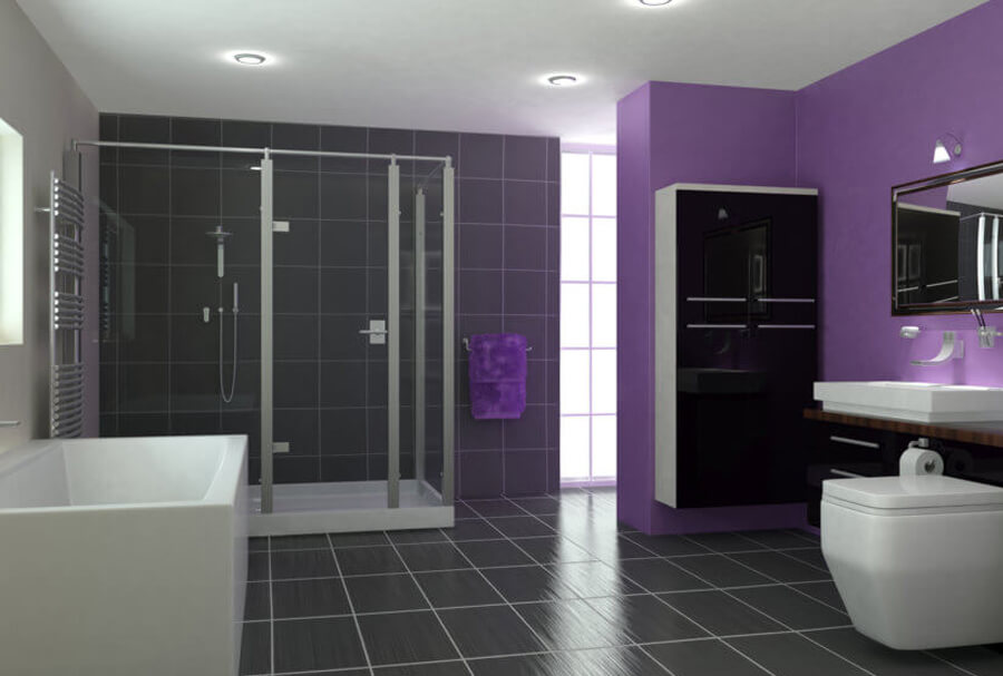 Ultra modern purple bathroom with white bathroom suite and shower cubicle Glasgow