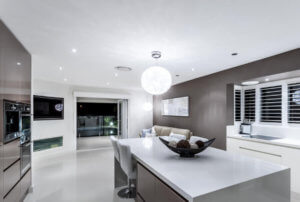 Large glossy white and brown modern kitchen Glasgow